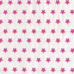 Serviettes étoilées (x20) - Fuchsia