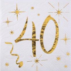 """Serviettes  """"40 ans""""  blanches et dorées (x20)"""