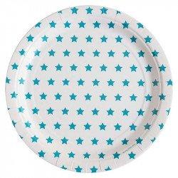 Assiettes étoilées bleu (x8)