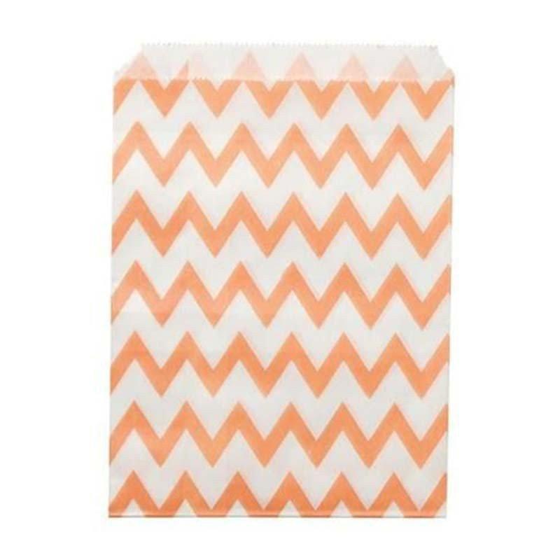 Sachet en papier à chevrons corail (x24)
