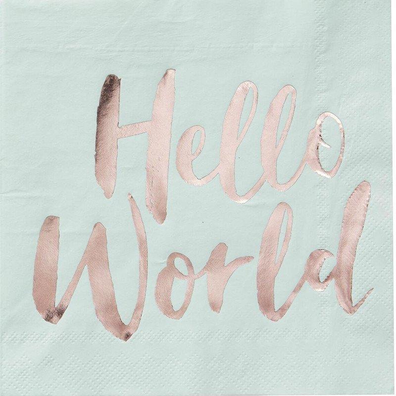 """Serviettes couleur menthe écriture """"Hello World"""" rose gold (x20)"""