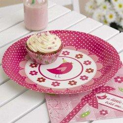 Assiette rose bonbon - 8 unités