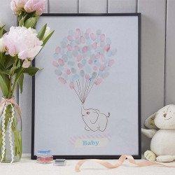 Tableau à empreintes Elephant aux ballons