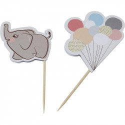 drapeaux à gâteaux Elephant aux ballons (x10)