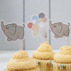 Drapeaux à gâteaux Elephant aux ballons