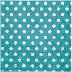 Serviettes à pois (x20) - Turquoise