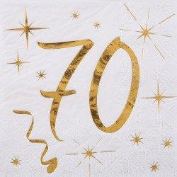 """20 Serviettes """"70 ans"""" blanches et dorées"""