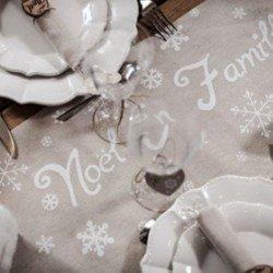 CHEMIN DE TABLE LIN NOEL EN FAMILLE