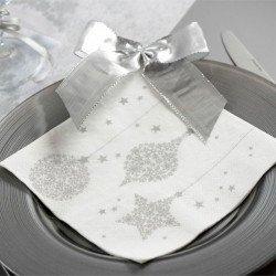 20 Serviettes Déco Noël Blanches & Argent