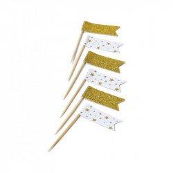 Mini drapeaux (x12) - Or