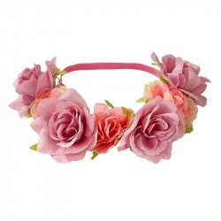 Headband couronne de fleurs roses