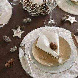 4 Sets de table fourrure blanche