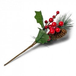 Jolie branche de Noël traditionnelle - 25 cm
