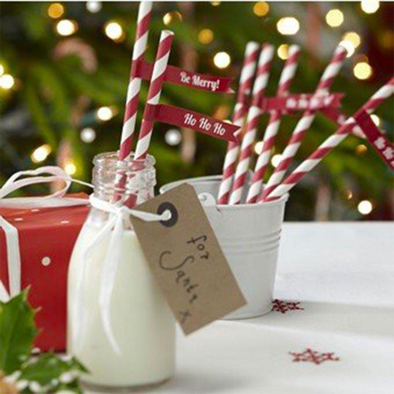 Pailles Noël à rayures -25 unités