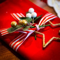 Ruban satin Noël Traditionnel Rouge Blanc Or 5M