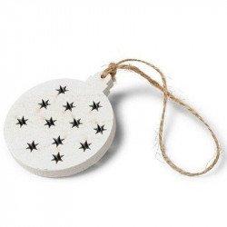 Boules en bois blanc ou naturel décor étoile (x4)