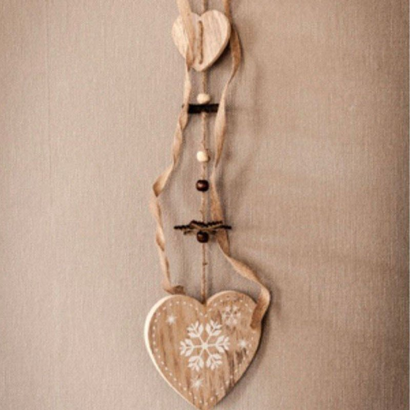 Suspension coeur bois  50cm