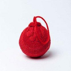 Boule en laine Noël - à l'unité - Rouge