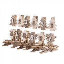 24 pinces Sapins Paillettes pour calendrier de l'Avent