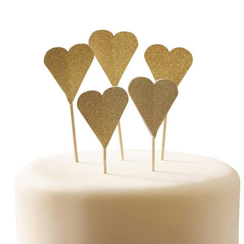 Pics coeurs or sur un glaçage de gâteau  (x10)
