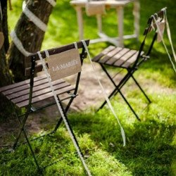 2 Dos de chaise en jute La mariée/Le marié