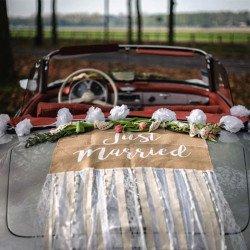 """Kit voiture des mariés """"jute & dentelle"""" 6 pièces"""