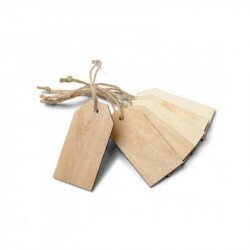Étiquettes en bois avec ficelle (x6)