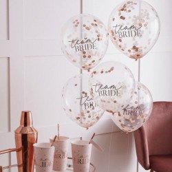 """5 Ballons confettis """"Team Bride"""""""