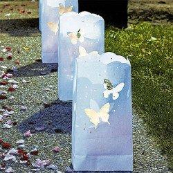 Sac de lumière blanc & papillon - 12 unités