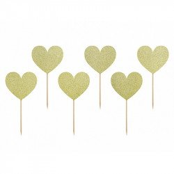 6 Pics coeur doré à paillettes