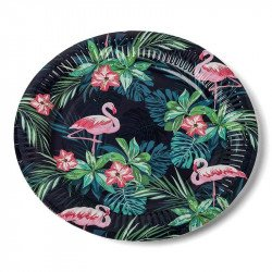 Assietets tropicales flamingo
