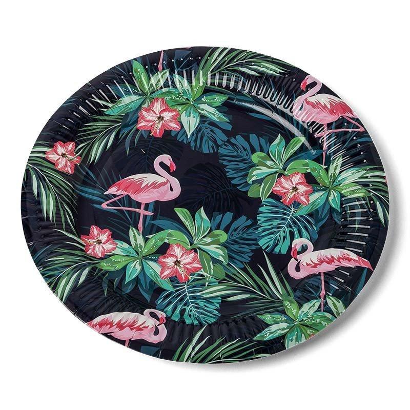 Assietets tropicales flamingo