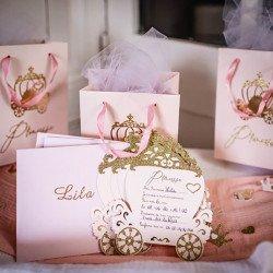8 Invitations Princesse à paillettes + enveloppes