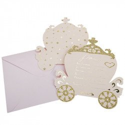 Invitations Princesse à paillettes + enveloppes (x8)