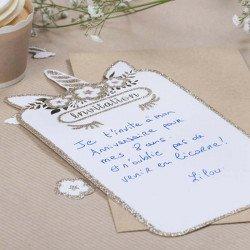 Invitations Licorne pailettes champagne