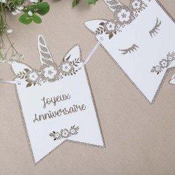 """Guirlande LICORNE """" Joyeux Anniversaire"""" paillettes champagne"""