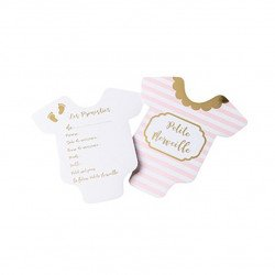Cartes de pronostiques Baby Shower (x10) - Rose