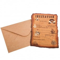 Invitations Pirate + Enveloppes (x8)