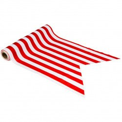 Chemin de table tissu rayé Rouge & blanc