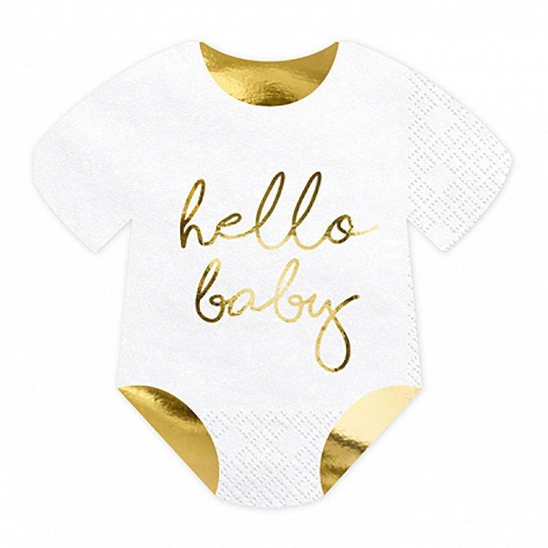 """Serviettes """"Hello Baby"""" blanche et doré en forme de body pour bébé (x20)"""