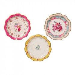 12 petites assiettes fleuries