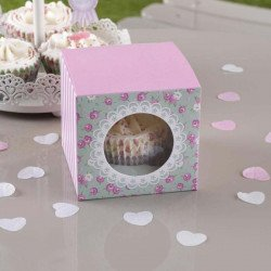 5 boîtes cupcake Shabby fleuri