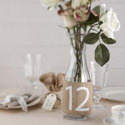 Numéros de table jute vintage - 12 unités