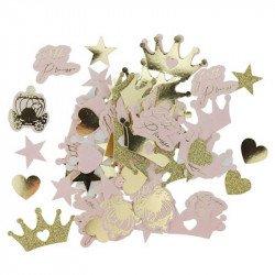 Confettis Princesse rose et paillettes or (x100)