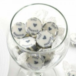 """50 Bonbons """"Just Married"""" - Argent"""