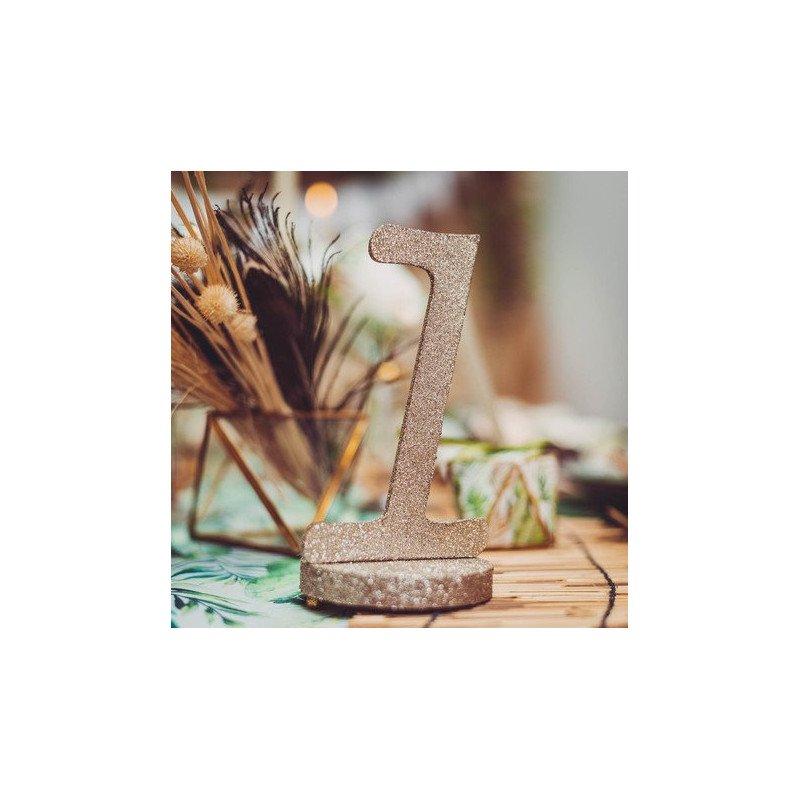 Marque table chiffre paillette champagne sur socle- 0 à 9