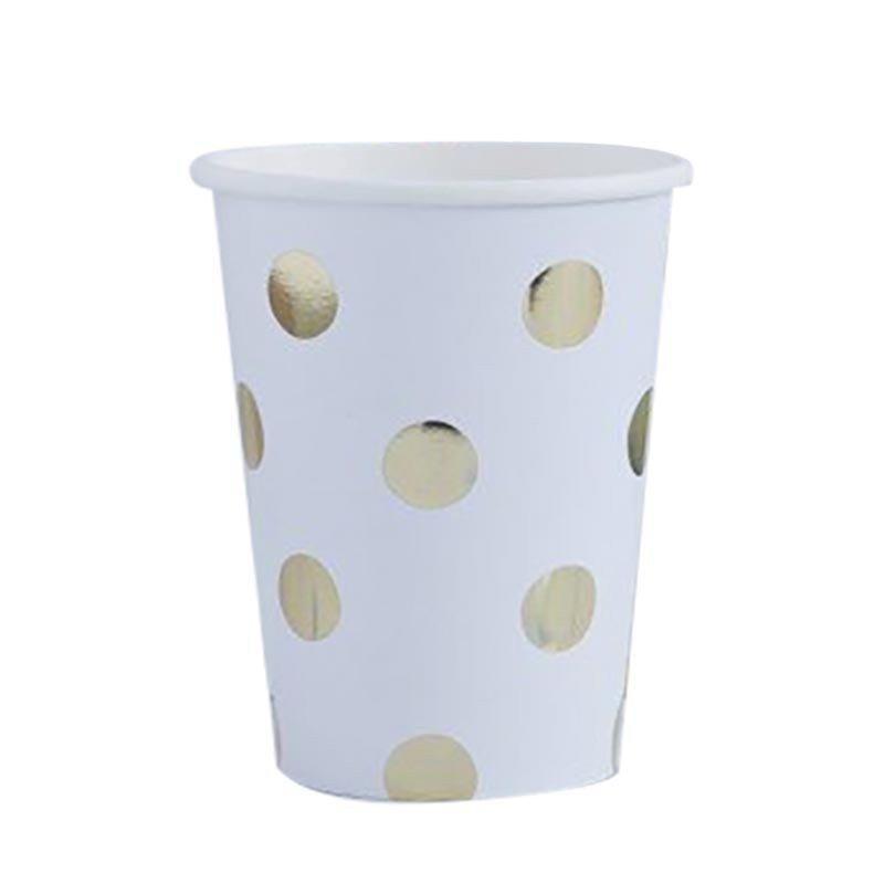Gobelets à pois blancs et dorés (x8)