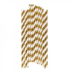 Pailles rayées métallisées dorées (x25)