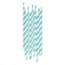 Pailles rayures bleues claires (x25)