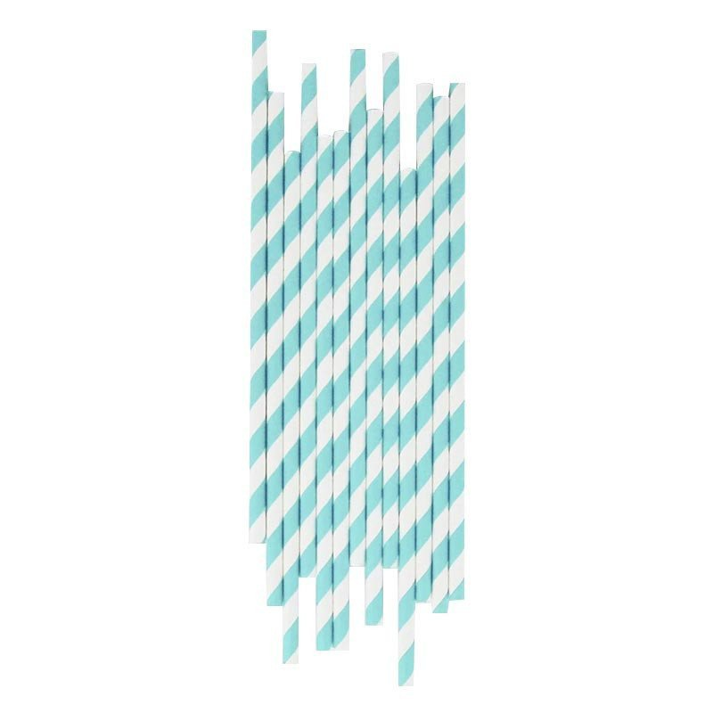 Paille rayures bleues claires (x25)